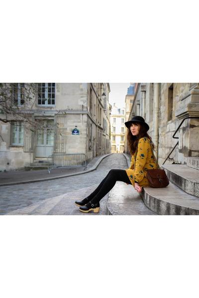 gold shirtdress Petite Mendigot dress - black Swedish Hasbeens clogs