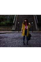 mustard duster united colors of benetton coat - black chelsea miz mooz boots