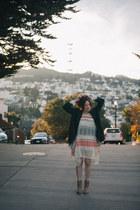 dark green boyfriend free people coat - white sweater Anthropologie dress