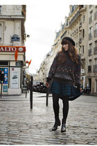 dark brown Frye boots - navy free people dress - charcoal gray vintage sweater