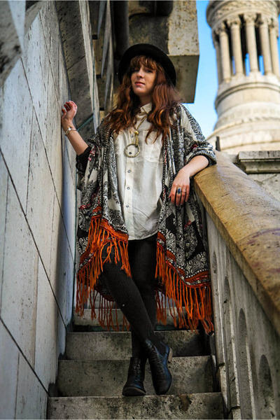 yarn poncho free people cape - black miz mooz boots - black Topshop hat