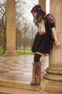 Leather-john-fluevog-boots-black-fit-and-flare-free-people-dress