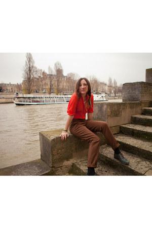 red sheer free people blouse - brown trousers Stella Pardo pants