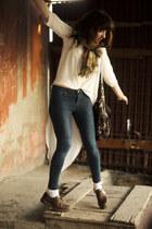 navy skinny Topshop jeans - crimson doc martens shoes