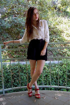 white blouse - black shorts - red shoes