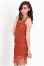 Burnt Orange Fringe Dresses