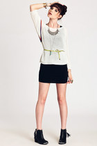 black boots - black kelly Motel dress - ivory sweater - chartreuse belt