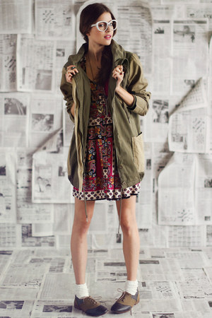 olive green One Teaspoon jacket - brown threadsence shoes