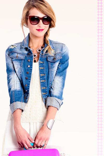 blue jacket - white dress - ivory top - light pink necklace - silver bracelet