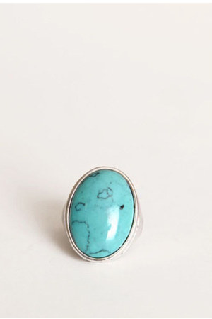 turquoise blue bold oval ring