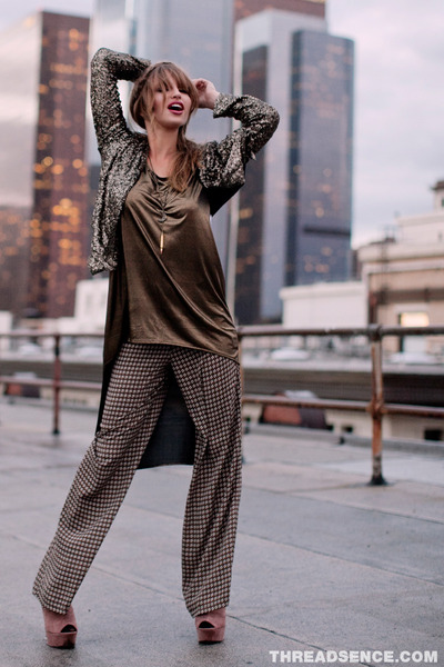 gold high-low tunic top - black sequined blazer - brown pants