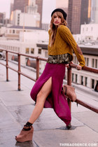 mustard cropped sweater - black slouchy beanie hat - maroon maxi skirt