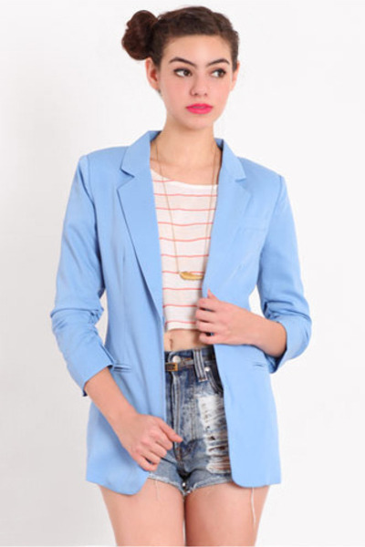 sky blue ruched blazer