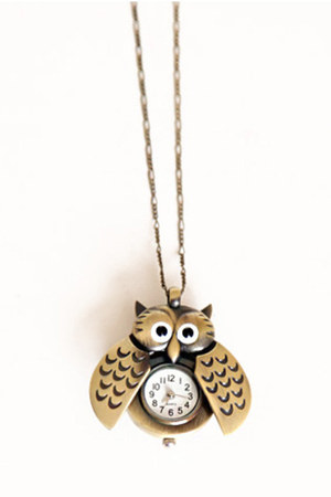 bronze owl clock necklace