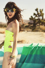 Yellow-strappless-neon-beach-riot-swimwear