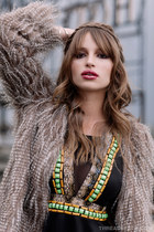 light brown faux fur coat - black beaded dress - black mary jane heels