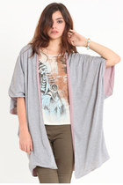 heather gray two-tone cardigan