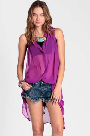 purple button up tunic top