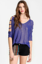 violet shimmer cutout top