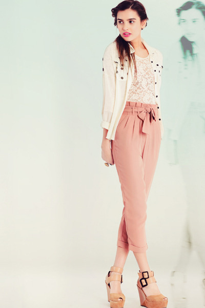 nude pants - tan wedges - ivory top - ivory blouse - pink bracelet