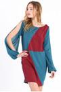 Brick-red-color-block-dress