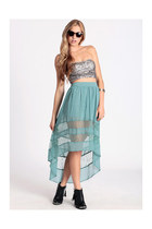 aquamarine high-low skirt