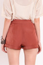 Burnt Orange Pleated Shorts