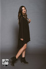 Black-suede-boots-black-tiered-ruffle-dress