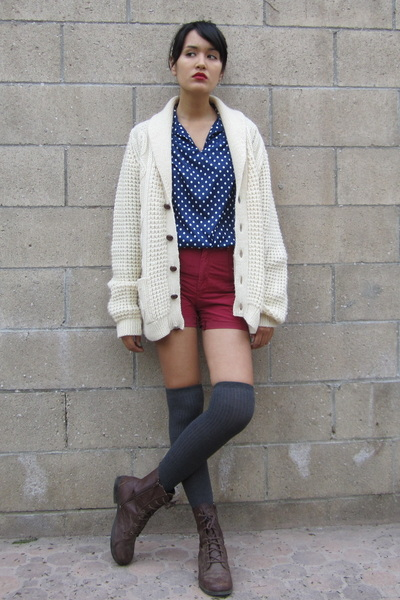 neutral vintage cardigan - brick red vintage shorts - navy vintage blouse - gray