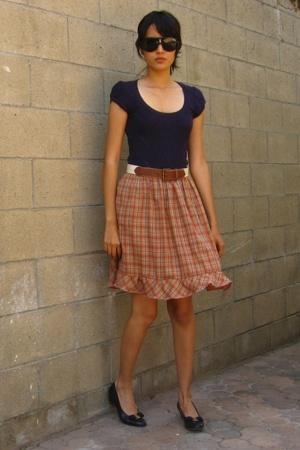 Nordstrom blouse - vintage belt - vintage skirt - Salvatoe Ferragamo shoes