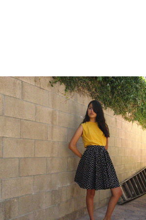 gold vintage blouse - black skirt