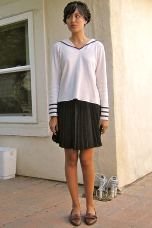 white vintage blouse - black vintage skirt - brown vintage shoes