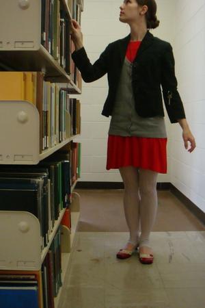 red Forever 21 dress - black Gap blazer - gray Urban Outfitters vest - purple Ur