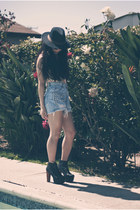 Jeffrey Campbell shoes - panama UO hat - Levis shorts - floral tank top