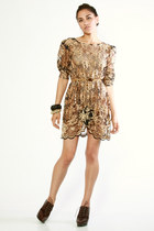 bronze Vintage from THRIFTEDnet dress - dark brown Michael Kors shoes