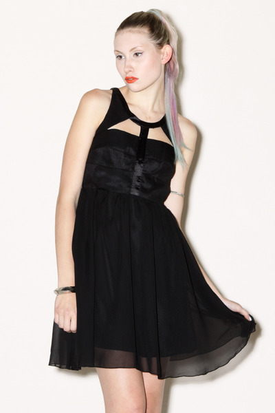 cut out Black Silk dress