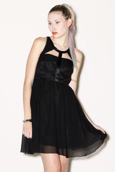 cut out Black Silk dress