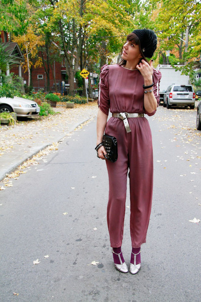 pink ruched sleeve Thrift Store jumper - silver Payless shoes