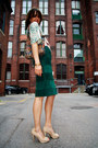 Dark-green-pencil-skirt-thrift-store-skirt-ivory-peep-toe-payless-pumps