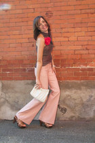 light pink flared Jacob pants - ivory Thrift Store purse