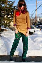 teal pyjama joe fresh style pants - navy suede H&M boots