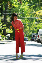 H&M shoes - printed joe fresh style shirt - pleated Thrift Store pants