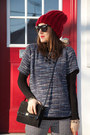 Navy-tweed-joe-fresh-style-top-ruby-red-toque-value-village-hat