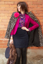 hot pink tailored Dynamite blazer - animal print Thrift Store jacket