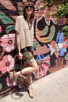 camo thrifted shorts - animal print H&M top - neutral cork Zara wedges