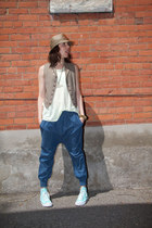blue harem thrifted pants - brown thrifted vest - lime green tank Zara top