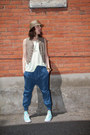 Blue-harem-thrifted-pants-lime-green-tank-zara-top-brown-thrifted-vest