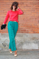 teal pleated Thrift Store pants - carrot orange angora French Connection sweater
