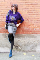purple dolman sleeve Thrift Store sweater