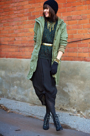olive green army H&amp;M jacket - black sheer Thrift Store dress
